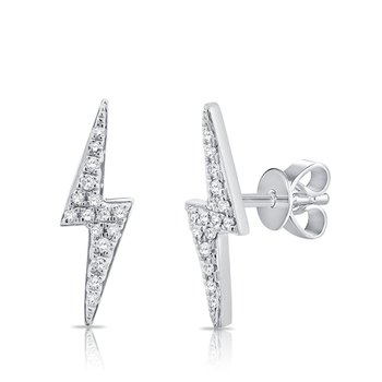 14K Gold Diamond Lightning Bolt Studs