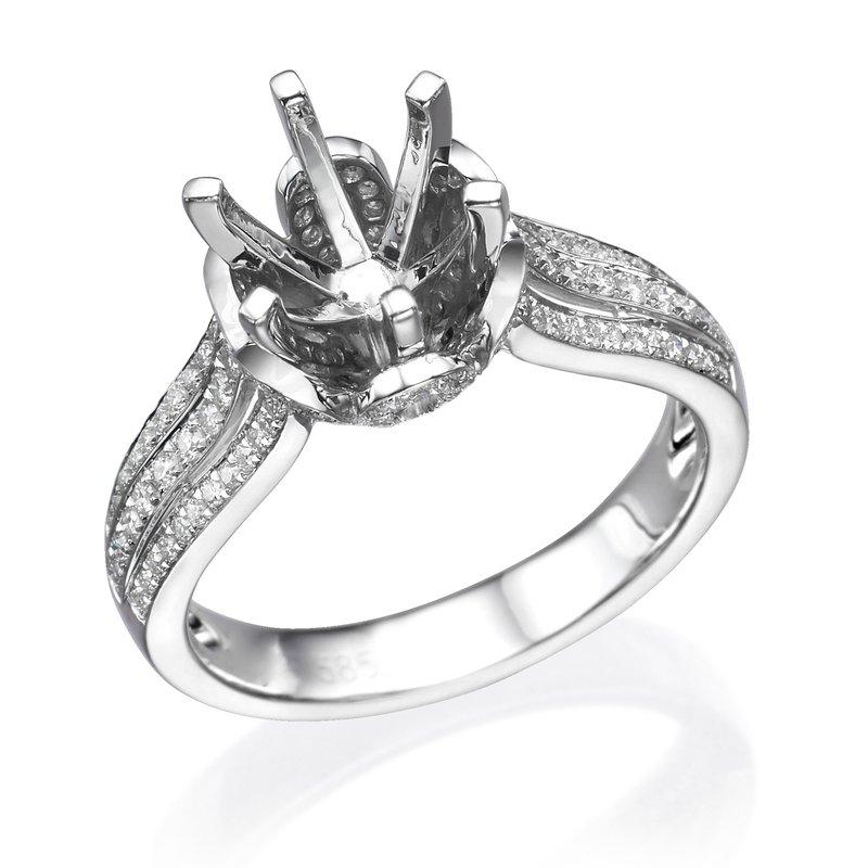 14K White Gold .50Ctw 6 Prong Diamond Mounting