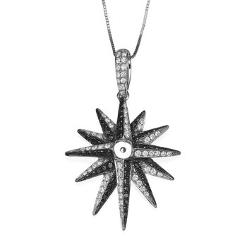 Black And White Diamond Star Pendant