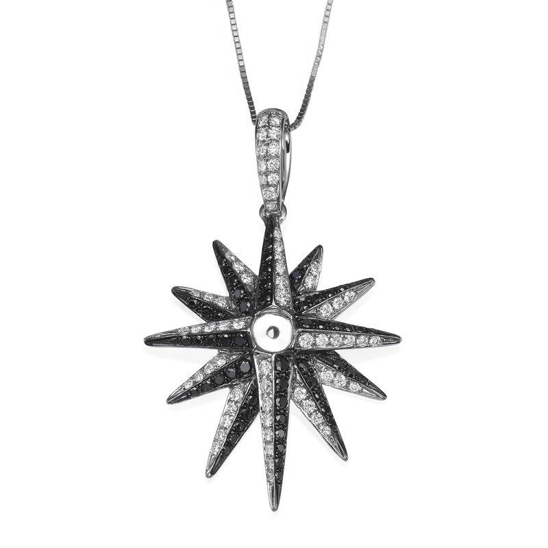Black And White Diamond Star Pendant