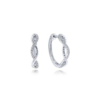 14K White Gold Twisted Diamond Hoop Earrings