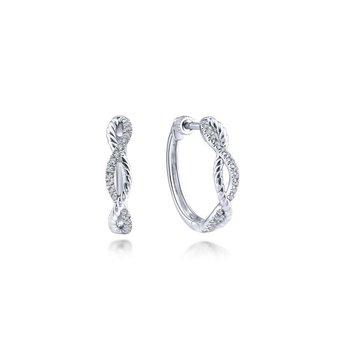 14K White Gold Twisted Diamond Hoop Earrings