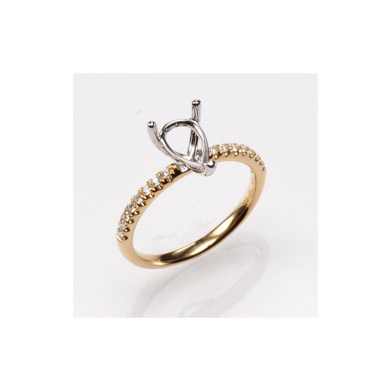 18K Yellow Gold Pear .16Ctw Diamond Mounting
