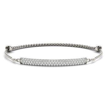 14K White Gold Diamond Bar Bracelet