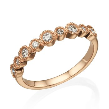 14K Rose Gold .30Ctw Wedding Band