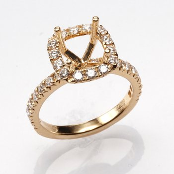 18K Yellow Gold Halo Diamond Engagement Ring Mounting