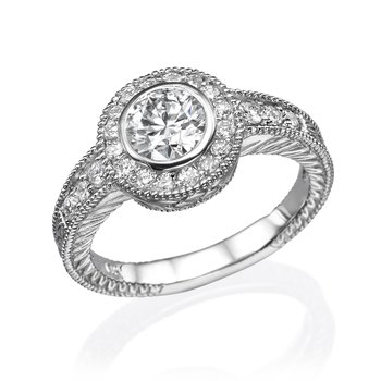 18K White Gold Vintage Bezel Engagement Ring