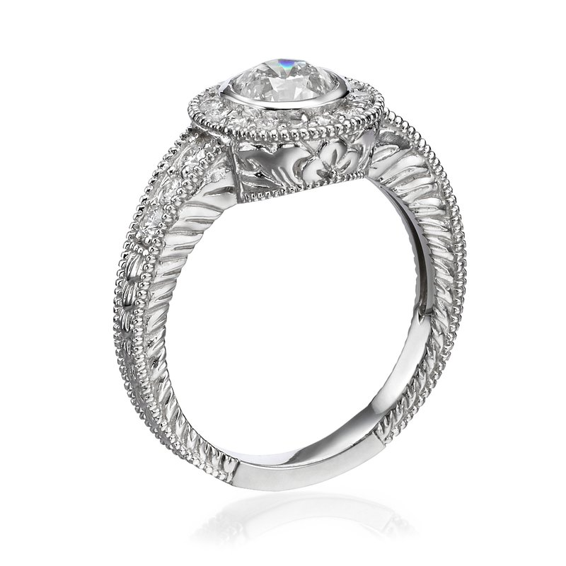 18K White Gold Vintage Bezel Engagement Ring