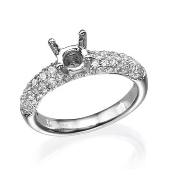 18K White Gold Pave Engagement Ring Mounting