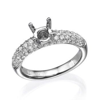 18K White Gold Pave Engagement Ring Mounting