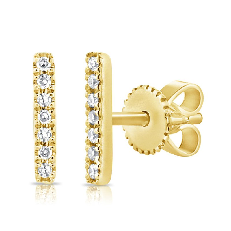 14K Gold Diamond Bar Studs