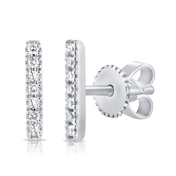 14K Gold Diamond Bar Studs
