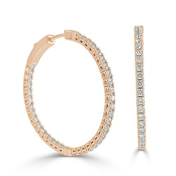 14K Gold 1.25 Inch Flexible Diamond Hoop Earrings