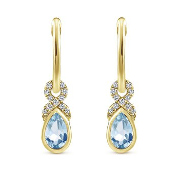 14K Yellow Gold Aquamarine Dangle Earrings