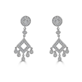 14K White Gold Diamond Chandelier Earring