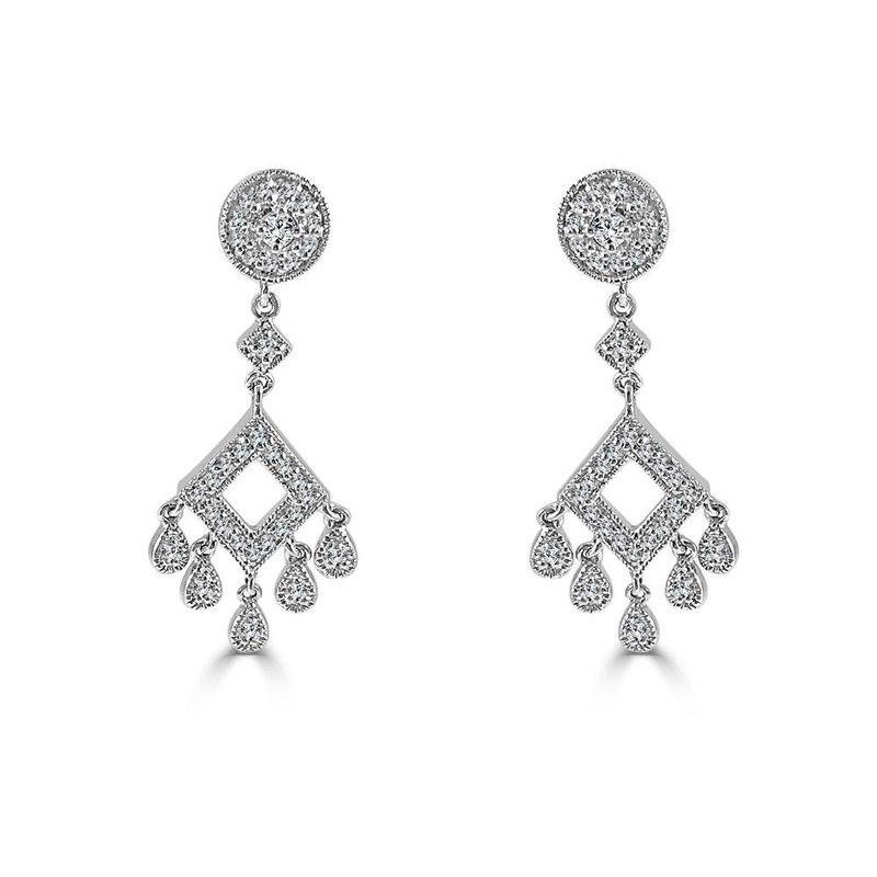 14K White Gold Diamond Chandelier Earring