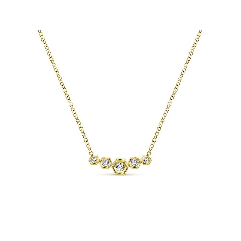14K Yellow Gold Bezel Diamond Bar Pendant