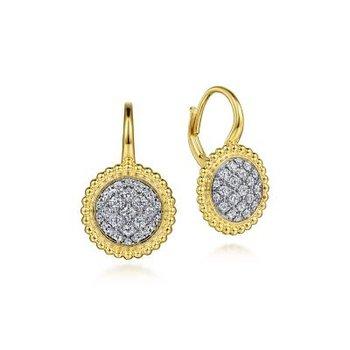 14K Yellow Gold Diamond Pavé Bujukan Leverback Earrings