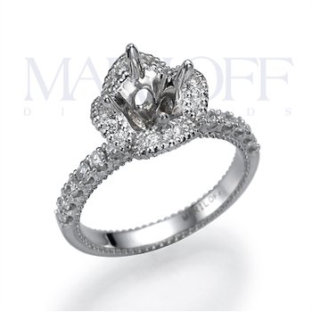 Boquet Shaped Diamond Halo Engagement Ring Mounting