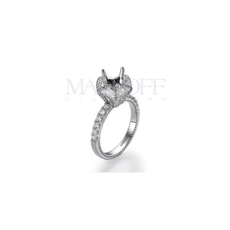 Boquet Shaped Diamond Halo Engagement Ring Mounting