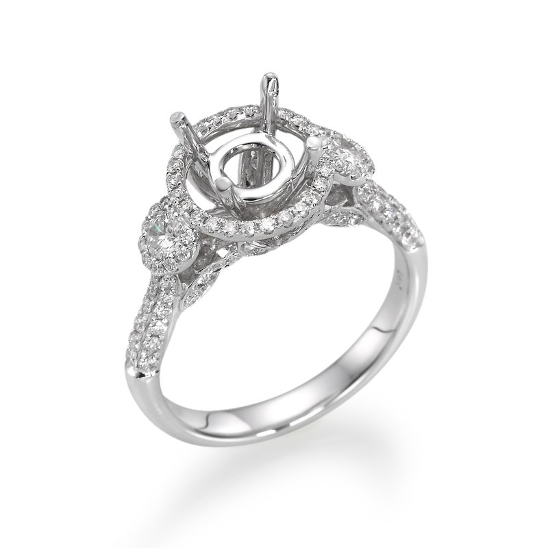 14K White Gold Three-Stone Halo Engagement Ring Mounting