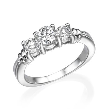 Platinum Classic Round Three-Stone Engagement Ring