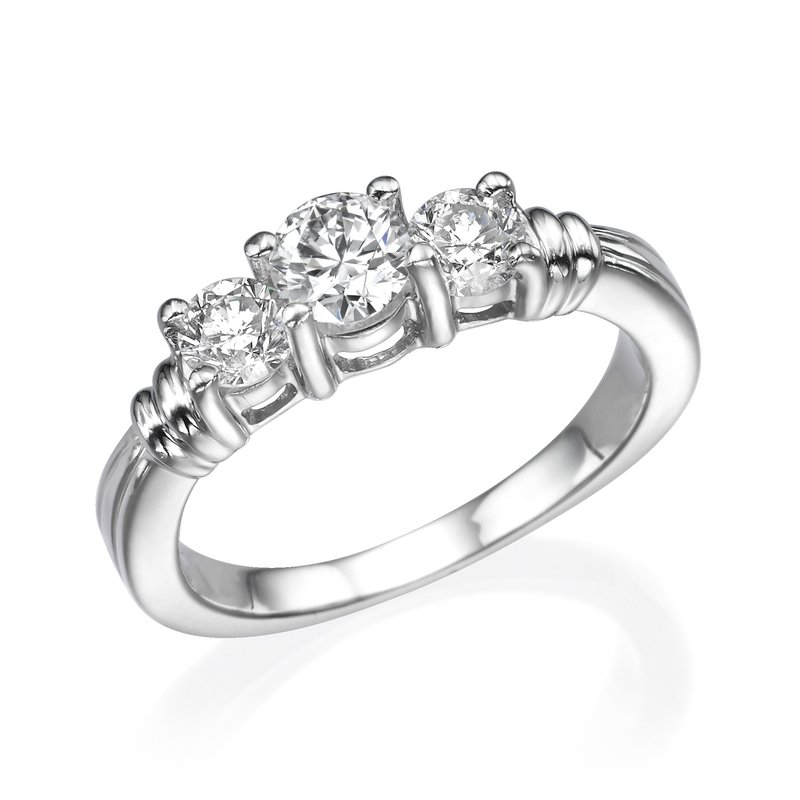 Platinum Classic Round Three-Stone Engagement Ring