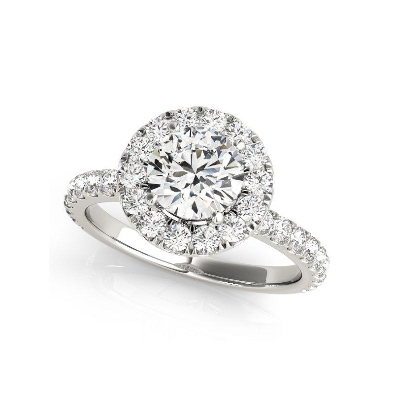 Classic Round Halo Diamond Engagement Ring Mounting