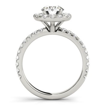 Classic Round Halo Diamond Engagement Ring Mounting