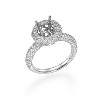 Pave Halo Round Diamond Engagement Ring Mounting