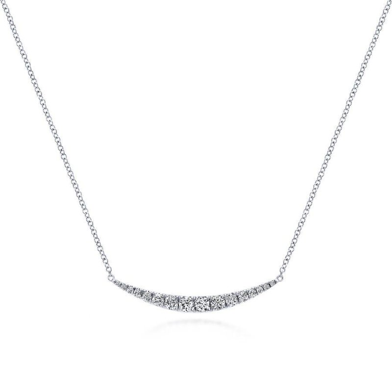 14K White Gold Tapered Bar Necklace