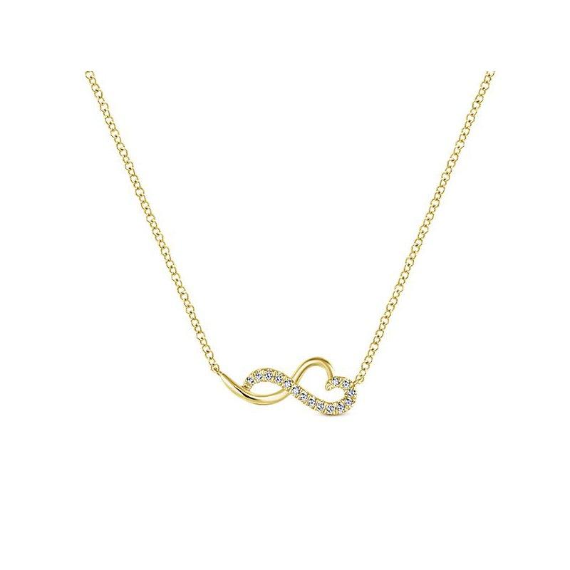 14K Yellow Gold Abstract Heart Diamond Pendant