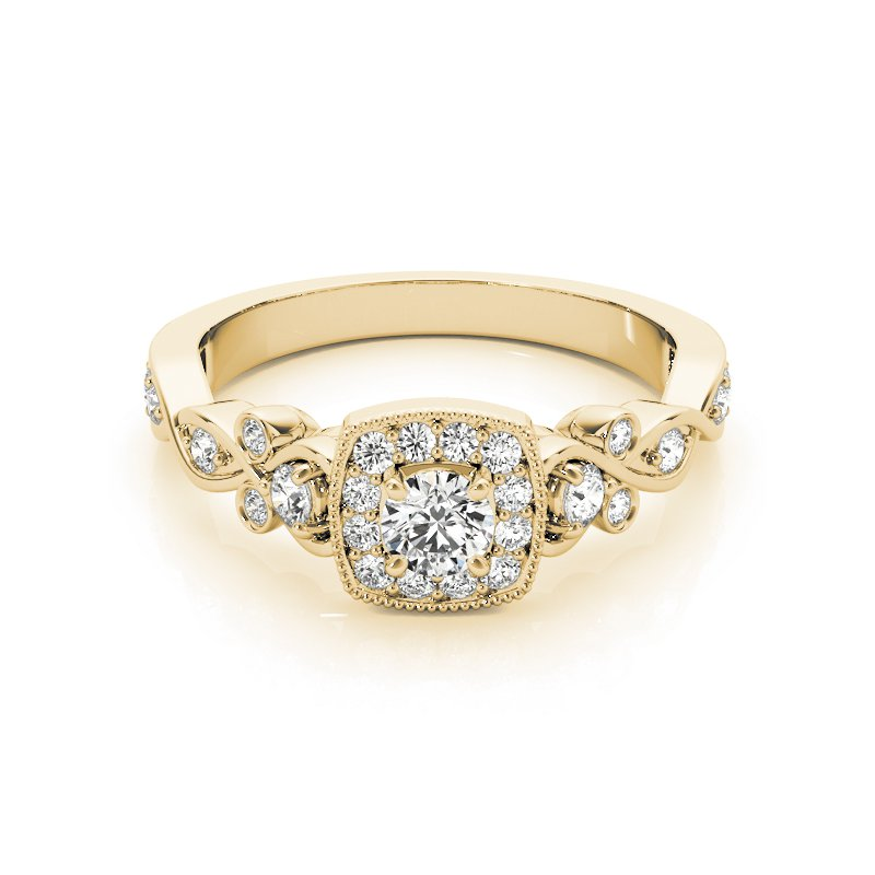 Vintage Inspired Milgrain Halo Engagement Ring Mounting