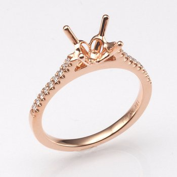 18K Rose Gold .15Ctw Diamond Mounting