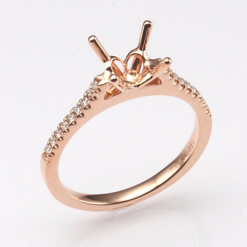18K Rose Gold .15Ctw Diamond Mounting