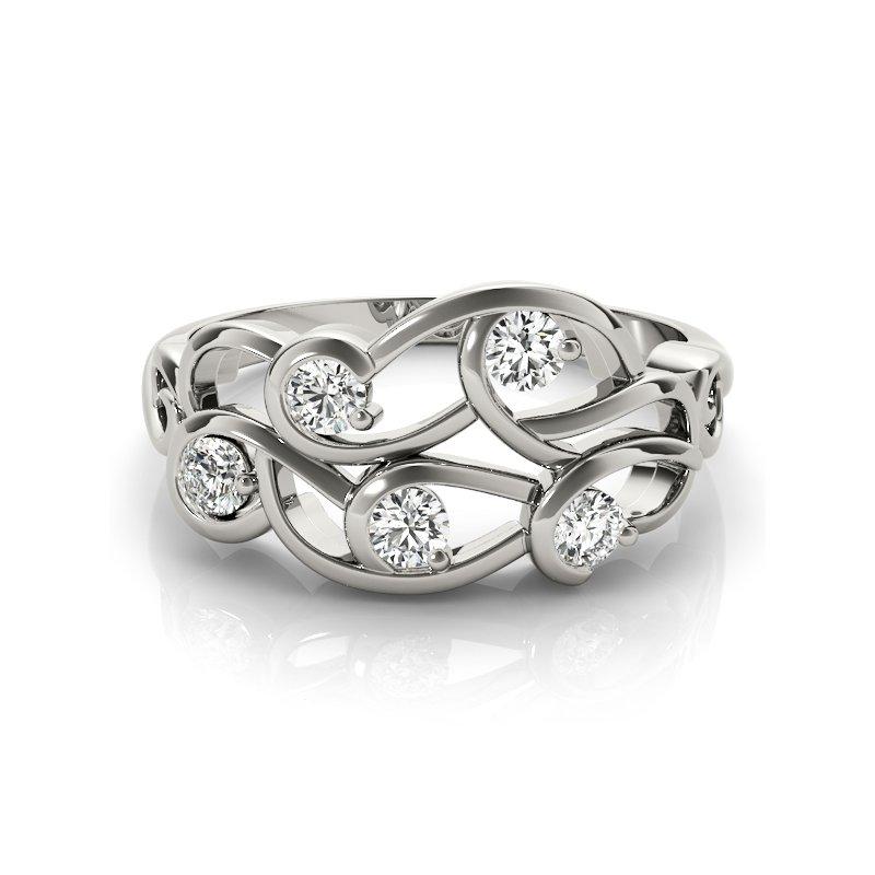 Modern Twisted Cluster Diamond Fashion Ring