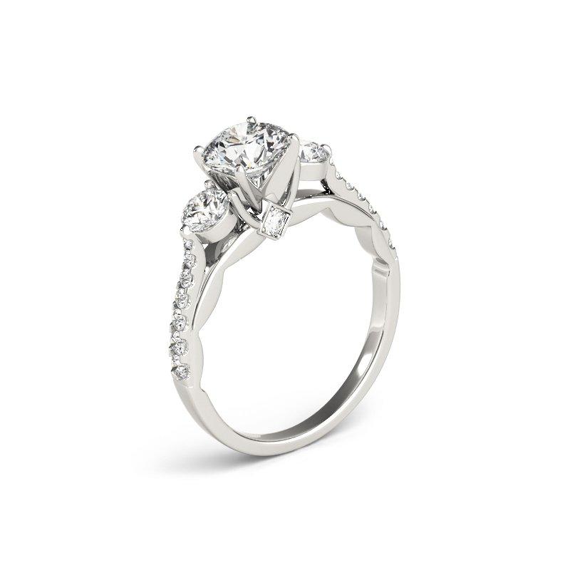 Diamond Band Three-Stone Engagement Ring Mounting