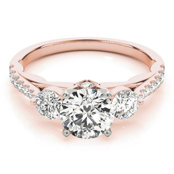 Diamond Band Three-Stone Engagement Ring Mounting