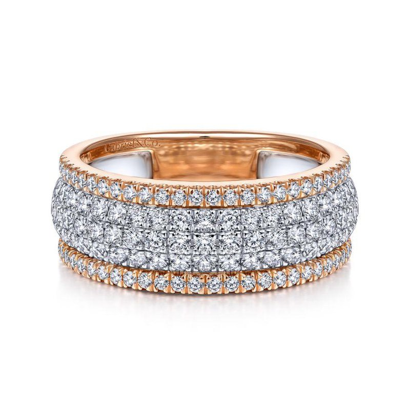 14K White And Rose Pave Diamond Band