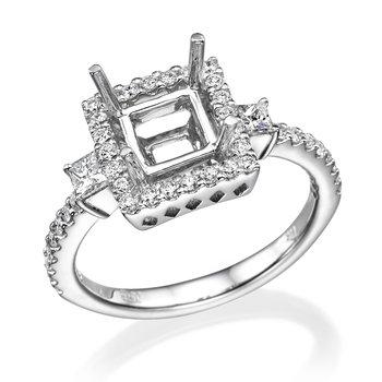 14K White Gold Three-Stone Halo Engagement Ring Mounting