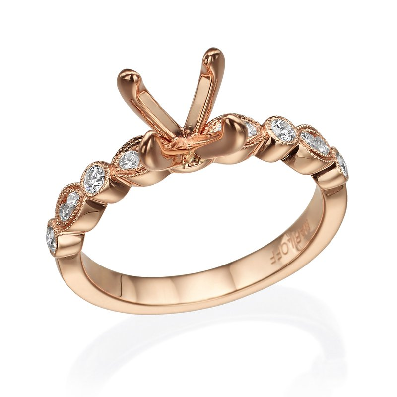 18K Rose Gold Milgrain Diamond Engagement Ring Mounting