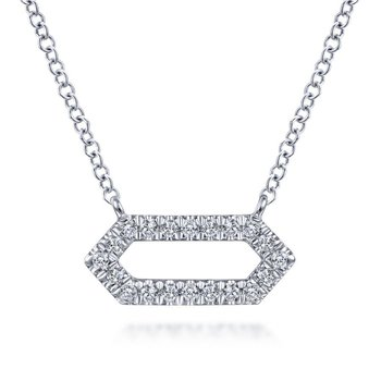 14K White Gold Diamond Geometric Pendant