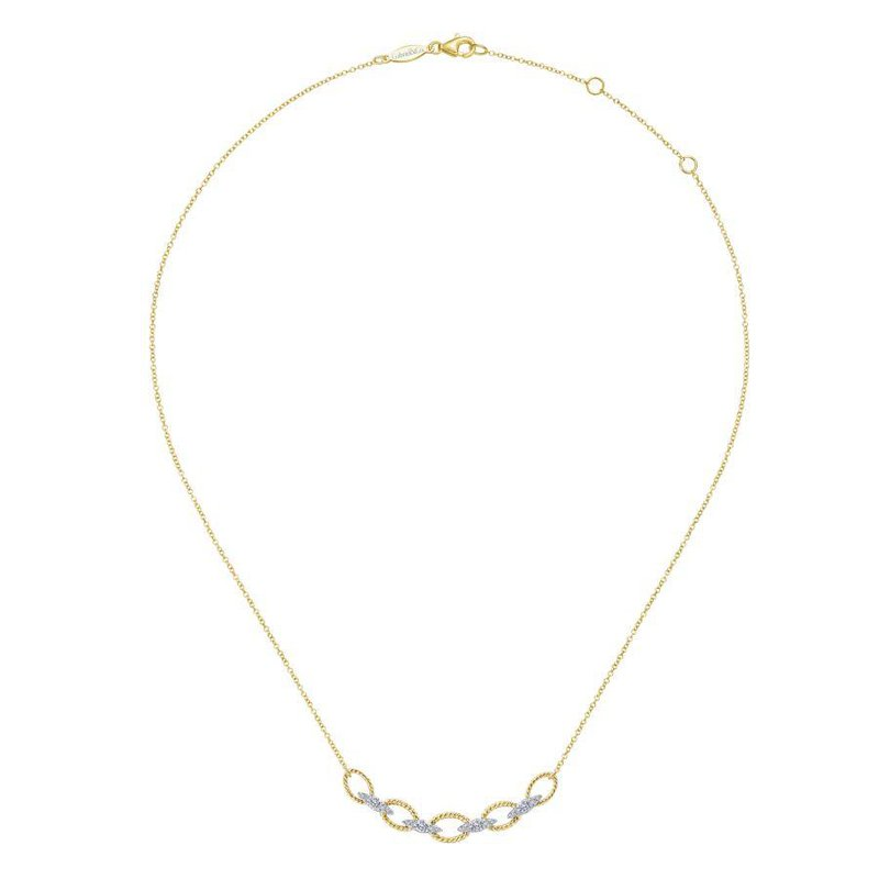 14K Yellow Gold Chain Style Diamond Necklace
