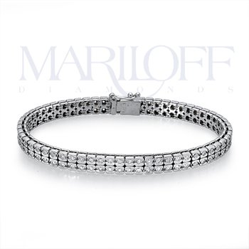 14K White Gold Diamond Layered Bracelet