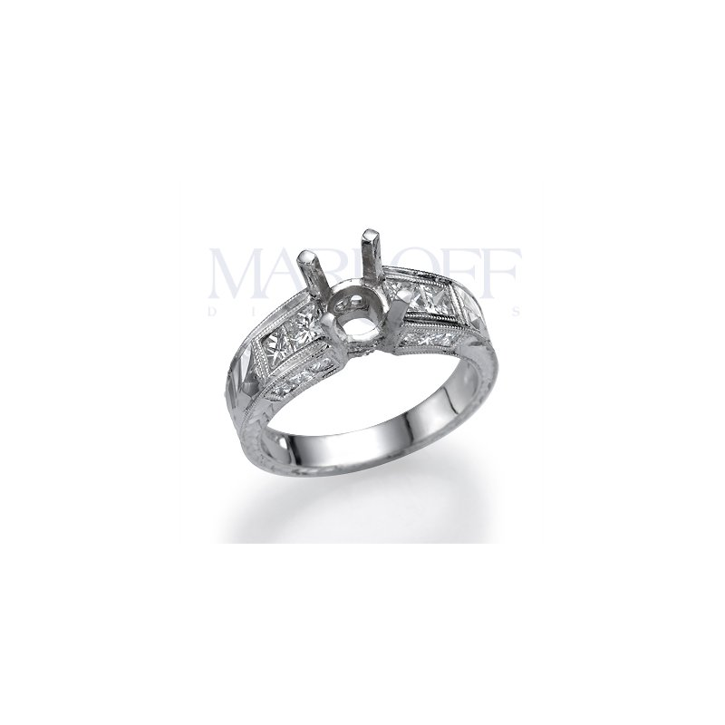 Platinum Engraved Milgrain 1.17 Ctw Princess Engagement Ring Mounting