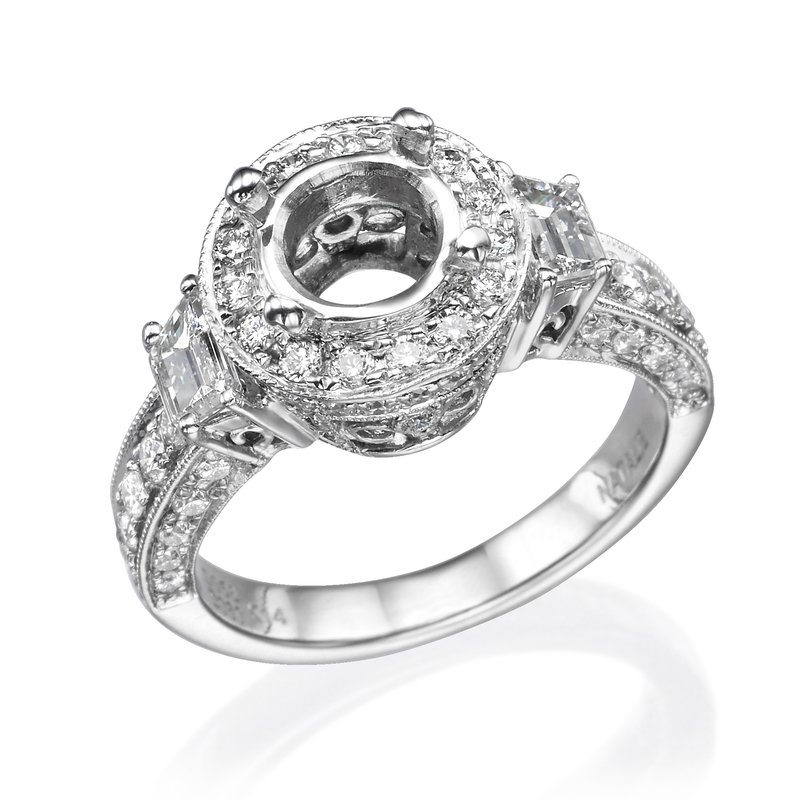 14K White Gold Three-Stone Vintage Halo Engagement Ring Mounting