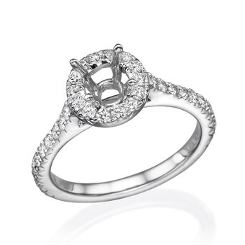 18K White Gold .50Ctw Halo Diamond Mounting