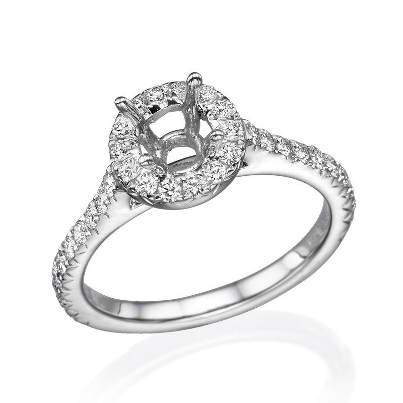 18K White Gold .50Ctw Halo Diamond Mounting