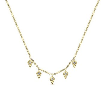 14K Yellow Gold Diamond Dangle Arrow Necklace