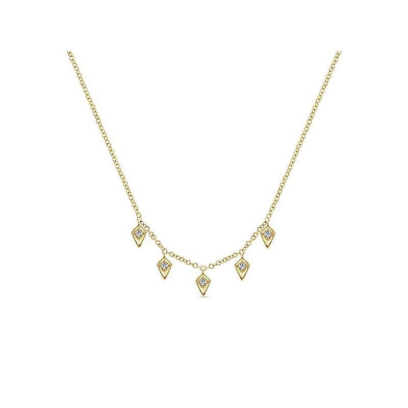 14K Yellow Gold Diamond Dangle Arrow Necklace